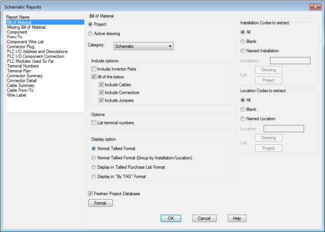 Schematic Reports Dialog Box | AutoCAD Electrical | Autodesk ...
