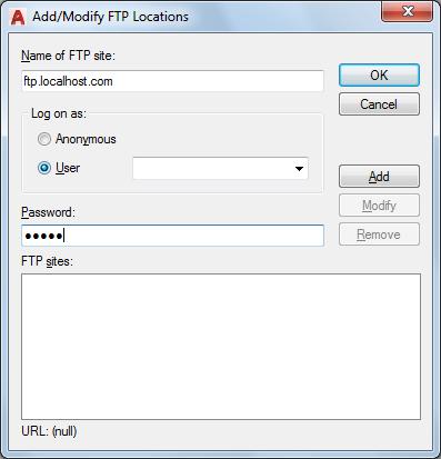 Add/Modify FTP Locations Dialog Box | AutoCAD LT 2019 | Autodesk