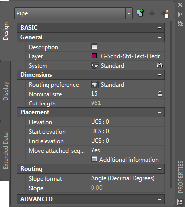 About Pipe Properties Palette (Modify Mode) | AutoCAD MEP 2019