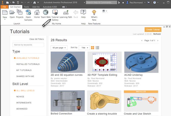 Get Started Tutorials | Inventor 2019 | Autodesk Knowledge