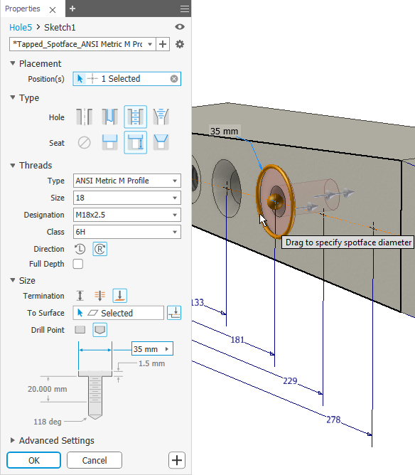 Inventor 2019 - New Hole and Project File Options