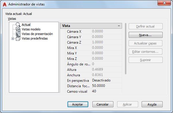 Administrador de vistas de AutoCAD