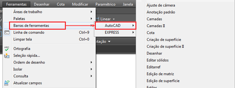 Para exibir uma barra de ferramentas | AutoCAD 2019