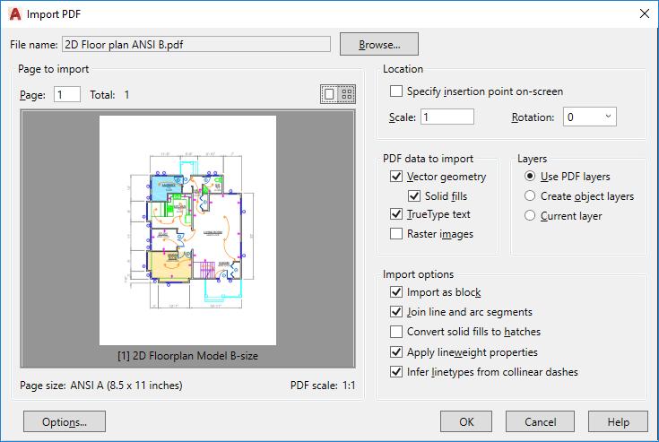 Import PDF Dialog Box | AutoCAD 2020 | Autodesk Knowledge