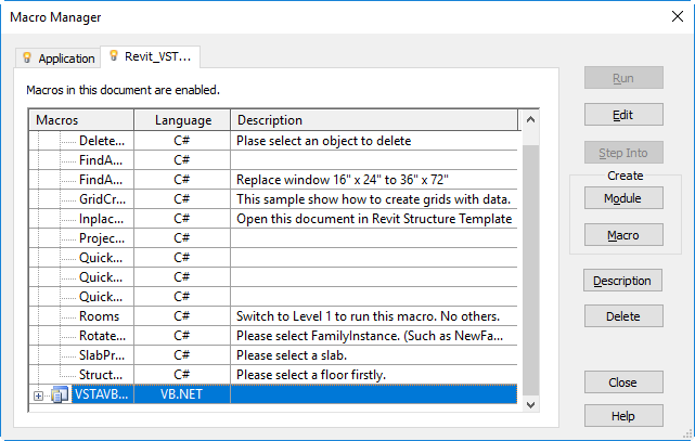 Use the Revit Macro Samples from SDK | Revit Products 2020