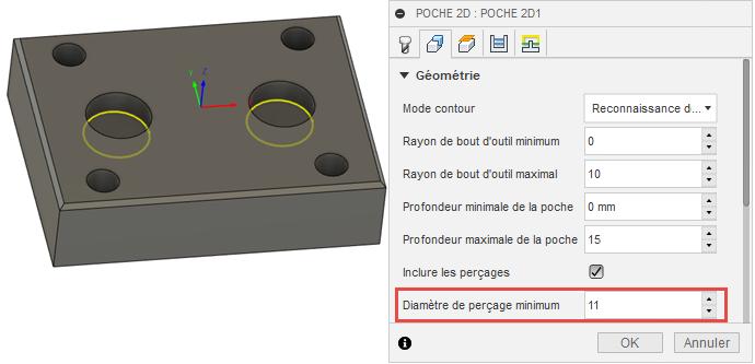 Valeur minimale du diamètre de perçage utilisée pour exclure 4perçages du coin