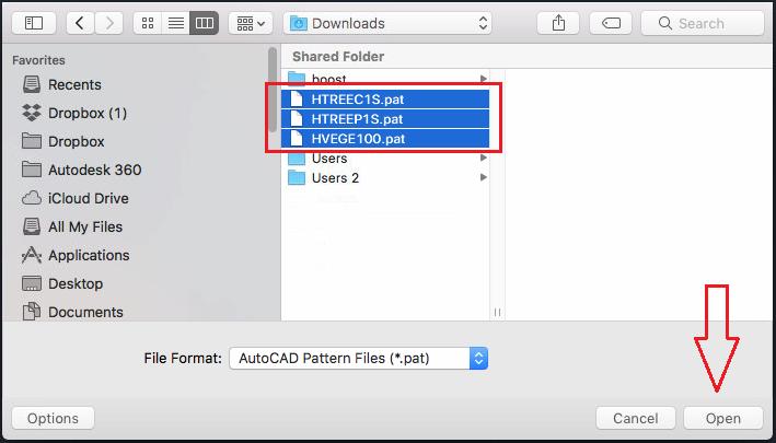 seleccionar archivos de patrones de sombreado personalizados
