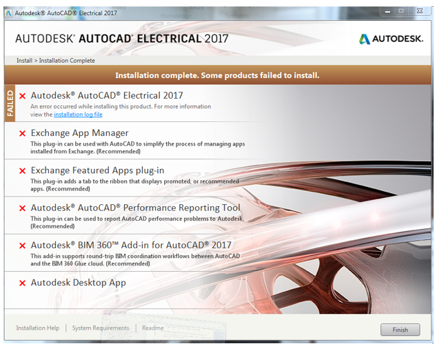Installation Complete Some Products Failed To Install During Installation Of An Autodesk Product Autocad Autodesk Knowledge Network