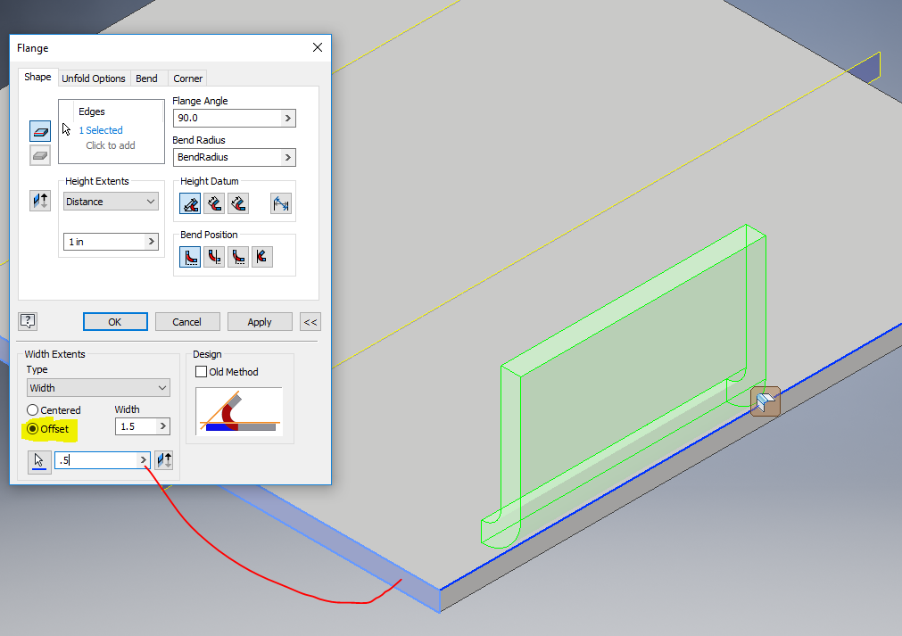 How To Move An Inventor Sheet Metal Flange Along Edge Or Certain Length On Edge Inventor 2018 Autodesk Knowledge Network