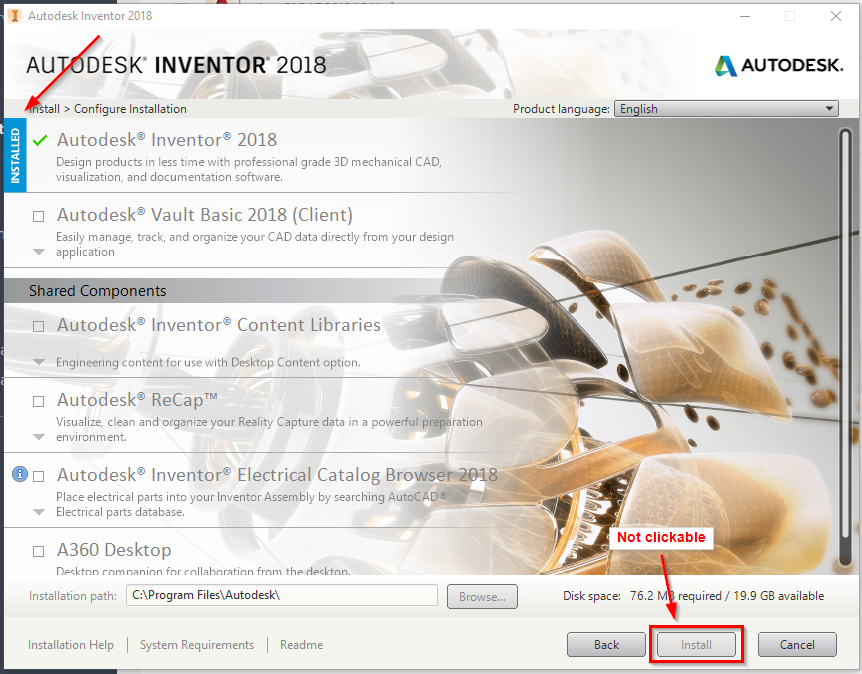 Autodesk Product Is Flagged As Installed And The Install Button Is Grayed Out Autocad Autodesk Knowledge Network