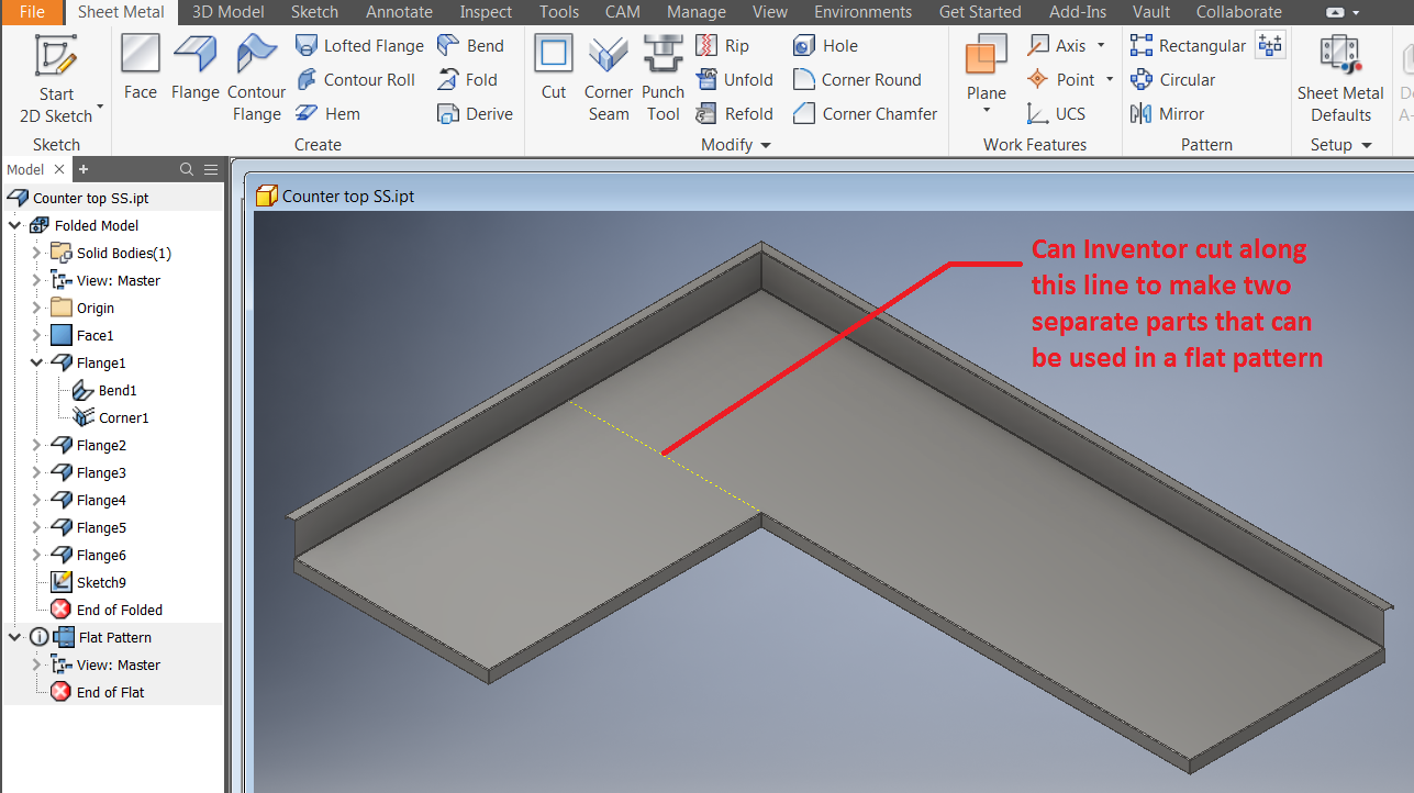 How To Split A Sheet Metal Part While Keeping The Ability To Create A Flat Part In Inventor Inventor 2018 Autodesk Knowledge Network