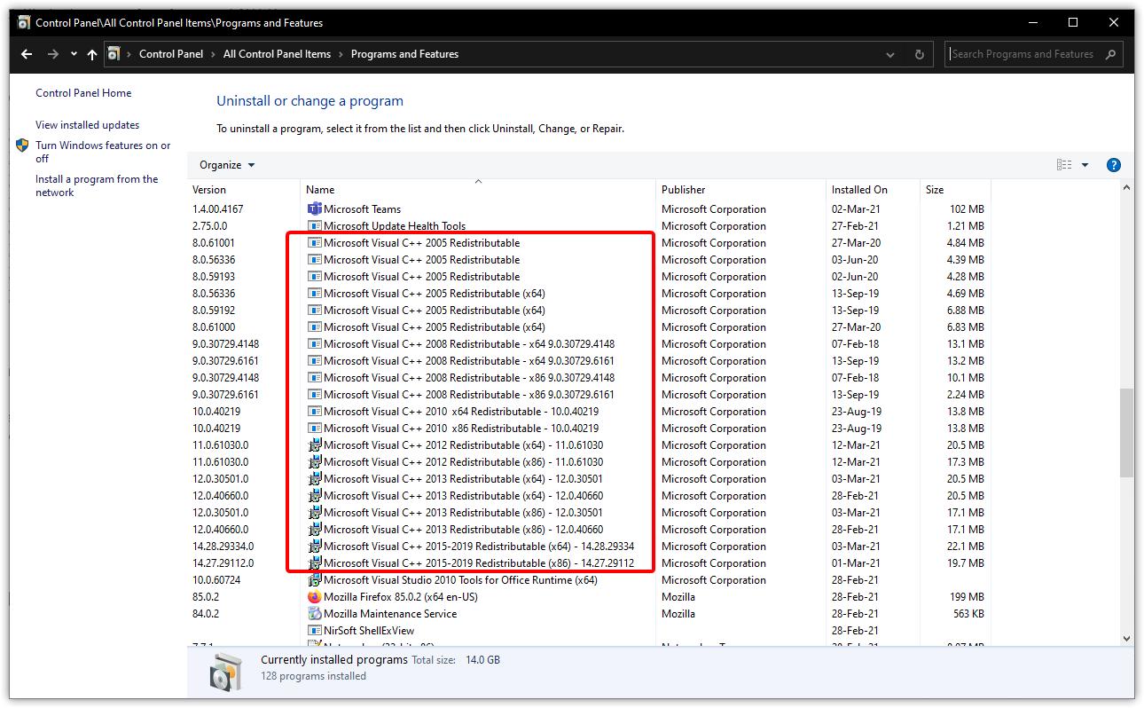 Entfernen und Installieren der Microsoft Visual C++ ...