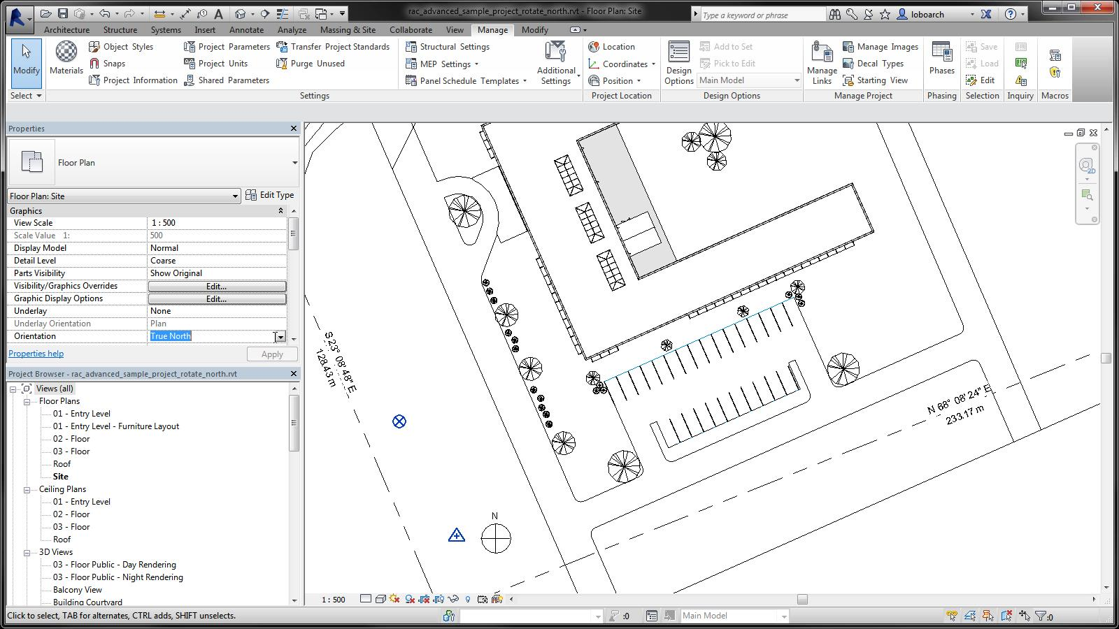 Rotate a View to True North | Revit Products 2016 | Autodesk