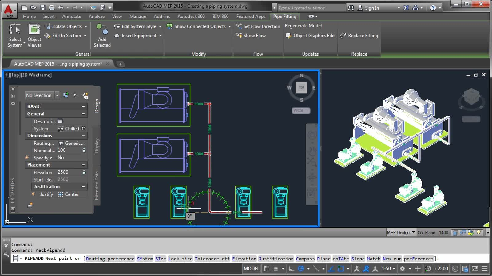 AutoCAD MEP - Creating a Piping System | AutoCAD MEP 2016 | Autodesk  Knowledge Network